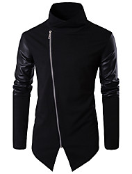 Men's Going out Casual/Daily Work Simple Fall Jacket Solid Stand Long Sleeve Regular PU Leather Cotton Patchwork Coat Black Fall