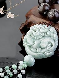 Diy pendentifs automobiles pendentifs de pendentifs brave courageux de style chinois en émeraude jade&Ornements glands en coton en