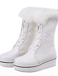 Feminino Botas Botas de Neve Botas de Montaria Botas da Moda Courino Outono Inverno Casual Social Caminhada Cadarço Pregueado Anabela