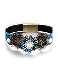 Lureme Bohemian Blue Flower with Pearl PU Leather Magnetic Bracelet Bangle for Women
