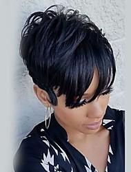 Small Fresh Fluffy  Black Short  Human Hair Wigs