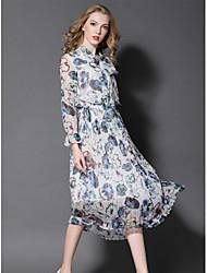 Balançoire Robe Femme Sortie Mignon,Imprimé Col Arrondi Midi Manches Longues Polyester Automne Taille Normale Micro-élastique Moyen