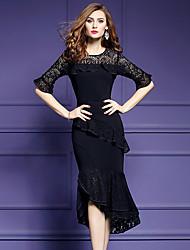 Gaine Robe Femme Sortie Grandes Tailles Chic de Rue,Couleur Pleine Mosaïque Col Arrondi Midi Asymétrique Demi Manches Polyester Spandex
