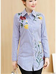 Women's Casual/Daily Simple Shirt,Print Shirt Collar Long Sleeves Cotton