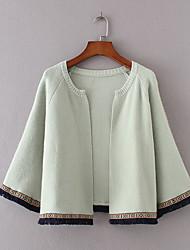 Для женщин Спорт На выход На каждый день Осень Зима Куртка Воротник шалевого типа,Простой Очаровательный Активный Однотонный Обычная