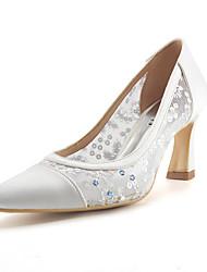 Feminino Sapatos De Casamento Plataforma Básica Renda Paetês Malha Respirável Arrastão Seda Tule Verão OutonoCasamento Social Festas &