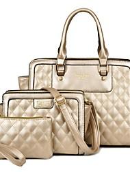 Damen Bag Sets PU Ganzjährig Normal Baguette Bag Reißverschluss Blau Gold Schwarz Beige