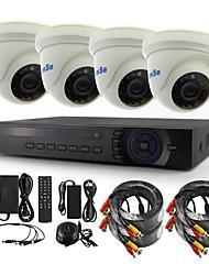 ianse® 4pcs dome cctv câmeras dvr kits ir cor câmeras internas segurança seystem (4ch 5-to-1 dvr ahd / tvi / cvi / cvbs / ip)