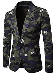 Для мужчин На каждый день Для клуба Весна Осень Блейзер Рубашечный воротник,Шинуазери (китайский стиль) С принтом камуфляж Обычная