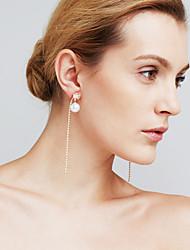 Mulheres Brincos Compridos Imitação de Diamante Moda Personalizado Euramerican Jóias filme Cobre Formato de Linha Jóias ParaCasamento