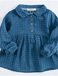 Robe Fille de Couleur Pleine Points Polka Coton Eté