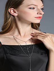 Women's Lariat Y Necklaces Geometric Alloy Fashion Personalized Handmade Multi Layer Metallic Jewelry For Wedding Party Birthday