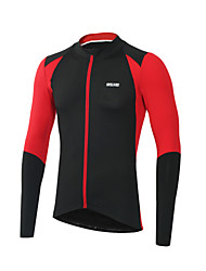 Arsuxeo Cycling Jersey Men's Long Sleeves Bike Jersey Reflective Strip Fast Dry Breathability Softness Spandex Polyester Patchwork