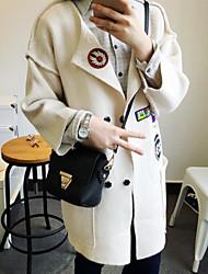 Longue Cardigan Femme Décontracté / Quotidien Couleur Pleine Col en V Manches Longues Coton Lin Fourrure d'agneau Automne Moyen