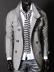 Men's Casual/Daily Simple Spring Fall Trench Coat,Solid Stand Long Sleeve Regular Cotton Polyester