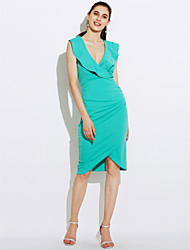 Women's Going out Casual/Daily Sexy Street chic Bodycon Dress,Solid Deep V Midi Sleeveless Polyester Summer High Rise Micro-elastic Medium