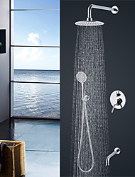 Contemporary Modern Style Wall Mounted Rain Shower Handshower Included Chrome  Shower Faucet Set