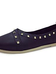 Women's Flats Comfort PU Summer Casual Rivet Flat Heel Black White Flat