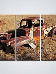 Stretched Giclee Print An Old Car Picture Printed on Canvas  Ready to Hang 30x60cmx3pcs