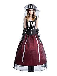 Une Pièce/Robes Costumes de Cosplay Pour Halloween Princesse Squelette/Crâne Esprit Fête / Célébration Déguisement d'Halloween Rétro