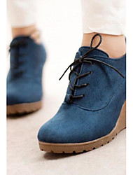 Women's Boots Comfort PU Winter Casual Comfort Blue Green Ruby 2in-2 3/4in