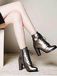 Femme Chaussures Polyuréthane Printemps Automne Confort Chaussures à Talons Gros Talon Bout rond Avec Pour Décontracté Noir Argent