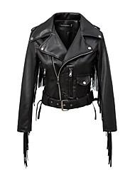 Для женщин Спорт На выход На каждый день Осень Зима Кожаные куртки Лацкан с тупым углом,Простой Однотонный Обычная Длинный рукав,Другое,С