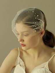 Bridal Bandeau Veil One-tier Full Face Birdcage Veil Blusher Veils Short Veil Boho Bride Small Tulle Side Veil Intersperse Pearl New Sale