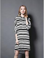 Gaine Robe Femme Sortie Mignon,Rayé Col Arrondi Mi-long Manches 3/4 Polyester Automne Taille Normale Micro-élastique Moyen