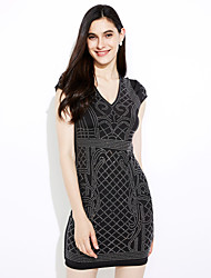Women's Casual/Daily Sexy / Simple Bodycon Hot Drilling Dress,Patchwork V Neck Above Knee Short Sleeve