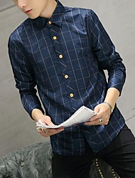 Men's Going out Casual/Daily Simple Shirt,Check Shirt Collar Long Sleeves Cotton Others