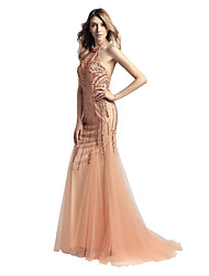 Mermaid / Trumpet Halter Sweep / Brush Train Tulle Rehearsal Dinner Formal Evening Dress with Beading by Sarahbridal