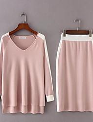 Для женщин Праздники На выход На каждый день Весна Осень Рубашка Юбки Костюмы V-образный вырез,Простой Очаровательный Активный Однотонный