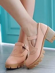 Для женщин Обувь Полиуретан Лето Удобная обувь Туфли на шнуровке На толстом каблуке Заостренный носок С Назначение Повседневные Черный