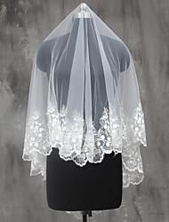 Bride Wedding White / Ivory Veil One-tier Shoulder Veils Elbow Veils Fingertip Veils Sequins Lace Applique Edge Lace Tulle