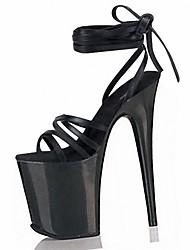 Damen Sandalen formale Schuhe PVC Sommer Kleid Party & Festivität Schnürsenkel Stöckelabsatz Schwarz Klar 12 cm & mehr