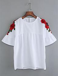 Damen Solide Stickerei Einfach Lässig/Alltäglich T-shirt,Rundhalsausschnitt Kurzarm Baumwolle