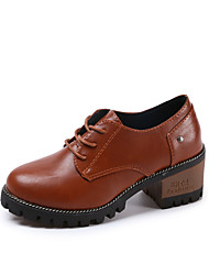 Women's Oxfords Comfort Ankle Strap Fall Winter PU Outdoor Office & Career Lace-up Low Heel Black Beige Brown Under 1in