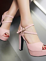 Women's Sandals Comfort PU Summer Casual Comfort Blushing Pink Blue 2in-2 3/4in