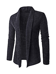 Men's Casual/Daily Simple Fall Winter Trench Coat,Color Block Shawl Lapel Long Sleeve Long Spandex
