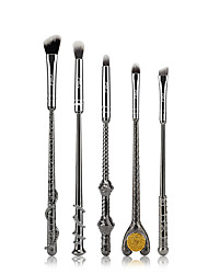 5PCS Metal Handle Brushes Fans Magic Wand Cosmetic Make Up Brushes Set