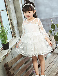 Girl's Solid Dress Spring Fall Long Sleeve