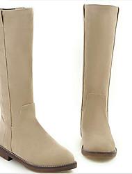 Mujer Zapatos PU Otoño Invierno Confort Botas Tacón Plano Dedo redondo Con Para Casual Negro Beige Marrón
