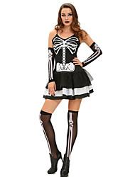 Squelette/Crâne Esprit Cosplay Fête / Célébration Déguisement d'Halloween Rétro Robes Manche Plus d'accessoires Halloween CarnavalFéminin