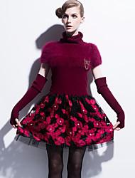 Gaine Robe Femme Décontracté / Quotidien Imprimé Col Roulé Au dessus du genou Manches Courtes Coton Printemps Taille Normale Non Elastique