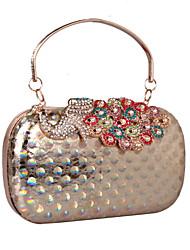 L.west Women's Elegant High-grade Laser Colorful Diamonds Peacocks Evening Bag