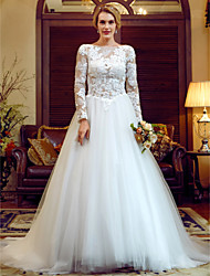 Ball Gown Illusion Neckline Court Train Lace Tulle Wedding Dress with Appliques Buttons by LAN TING BRIDE®