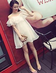 Feminino Rodado Vestido,Bandagem Sensual Sólido Sem Alças Mini Manga Curta Seda Verão Cintura Alta Micro-Elástica Leve Transparência