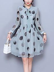 Women's Plus Size Going out Simple Cute A Line Chiffon Dress,Polka Dot Round Neck Knee-length 3/4 Length Sleeves Silk Polyester Spring