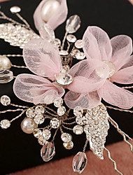 Tulle Imitation Pearl Rhinestone Net Alloy Headpiece-Wedding Special Occasion Birthday Party/ Evening Flowers Hair Clip 1 Piece